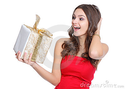Excited happy girl with a present
