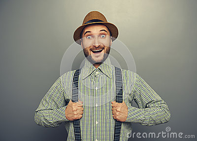 Excited hipster man