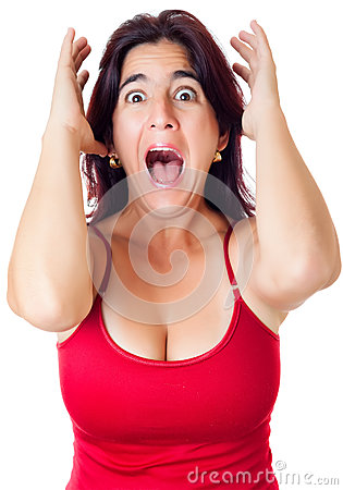 Excited hispanic woman yelling  isolated on white
