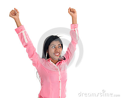 Excited Indian business woman arms up cheering