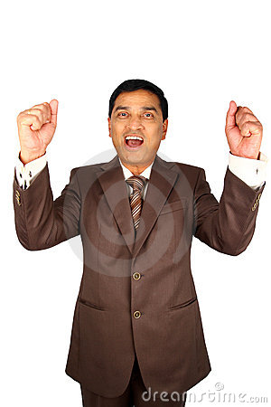 Excited Indian businessman.