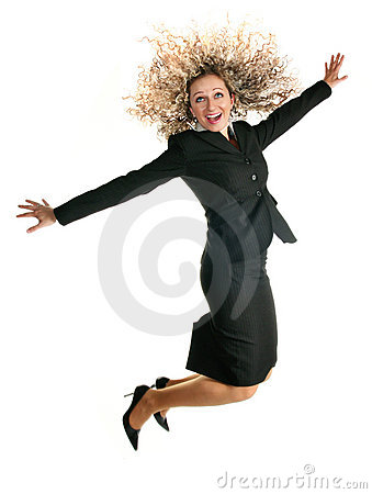 Excited jumping business woman