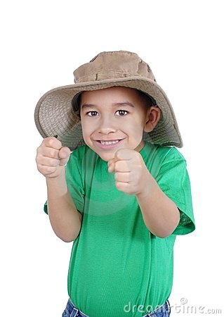 Excited kid with fists up
