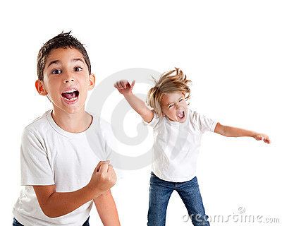 Excited kids happy screaming and winner gesture