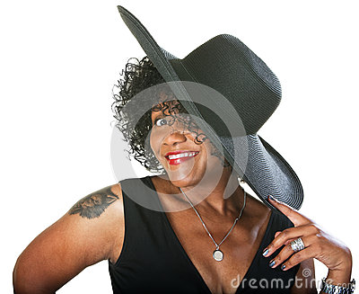 Excited Lady in Large Hat
