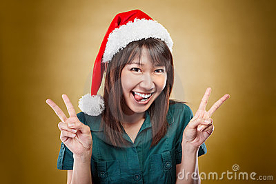 Excited lady with santa Hat