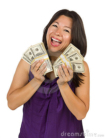 Excited Latino Woman Holding Hundreds of Dollars