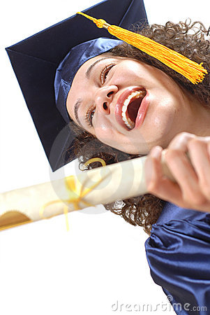 Excited and laughing graduate