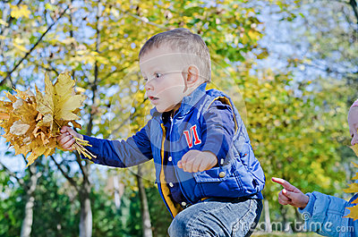 Excited little boy with autumn leaves
