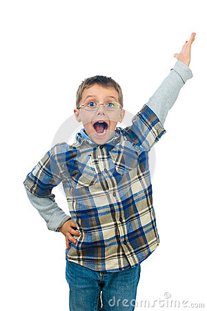Excited little boy shouting