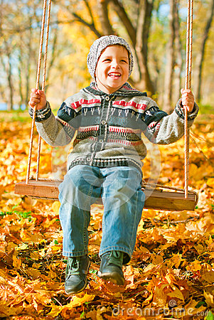 Excited little boy on a swing outdoor