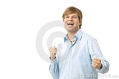 Excited man celebrating success