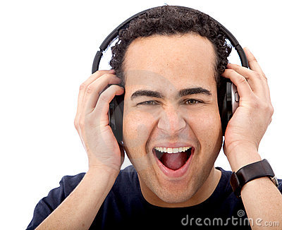 Excited man with headphones