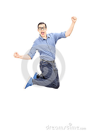 Excited man jumping with joy