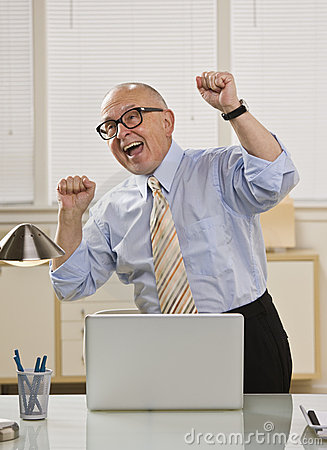 Excited Man On Laptop Royalty Free Stock Photography ...