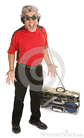 Excited Man with Old Radio