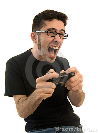 Free Excited Man Playing Video Games Stock Photo - 9061760