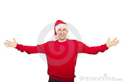 Excited man with Santa hat welcoming