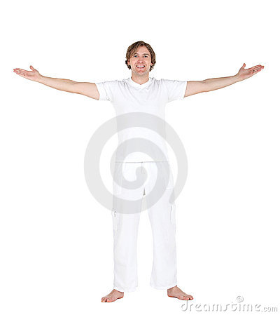 Excited man in white