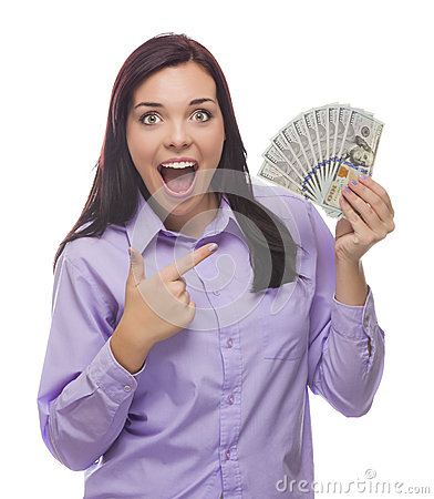 Excited Mixed Race Woman Holding the New One Hundred Dollar Bills