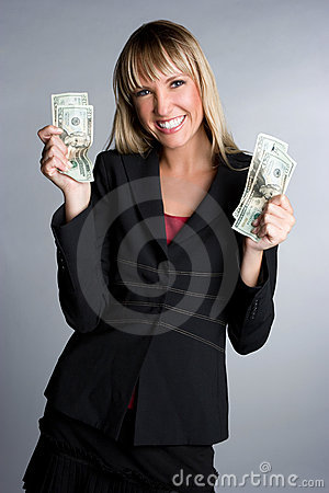 Excited Money Woman