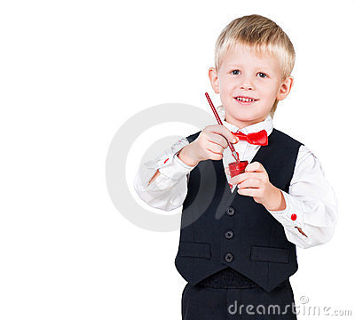 Excited painting boy isolated on white background