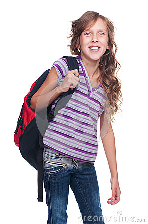 Excited pupil holding knapsack