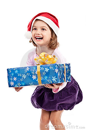 Excited Santa child isolated white
