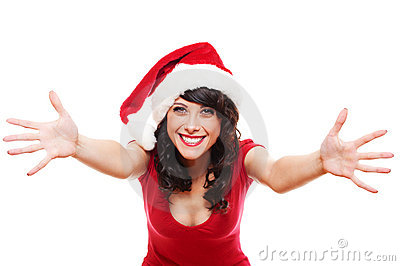 Excited santa girl