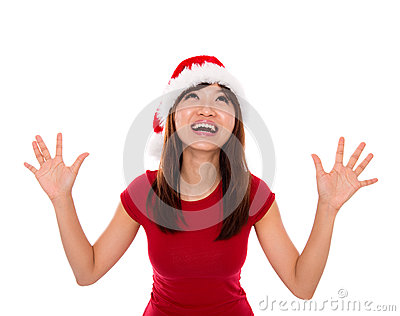 Excited Santa woman