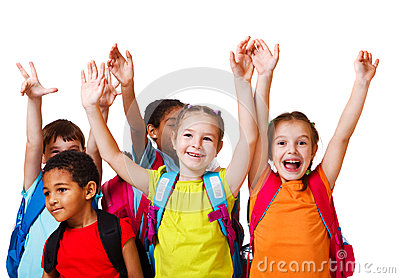 Excited school aged kids