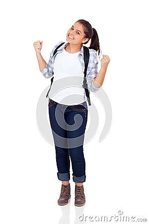 Excited school student