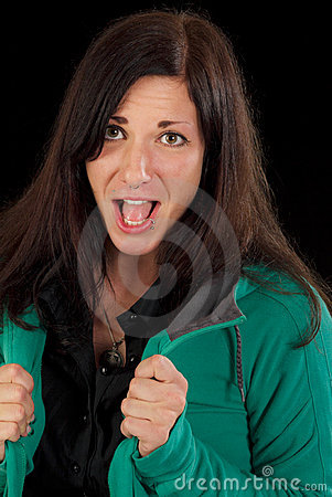 Excited screaming woman