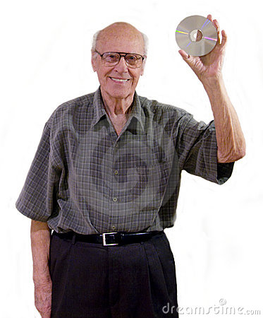 Excited senior holds a cd-rom