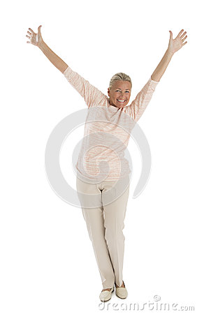 Excited Senior Woman With Hands Raised
