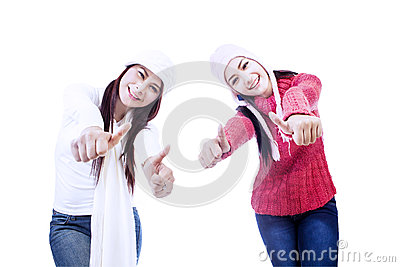 Excited sisters upon successful project-isolated