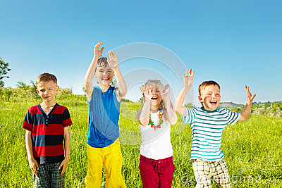 Excited soaked kids