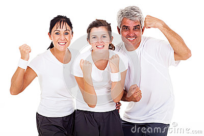 Excited sporty family