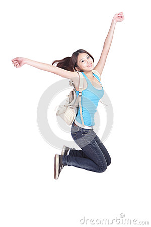 Excited student girl jumping