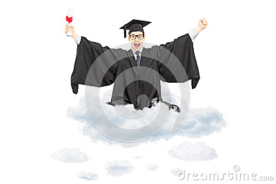 Excited student holding diploma seated on cloud and gesturing ha