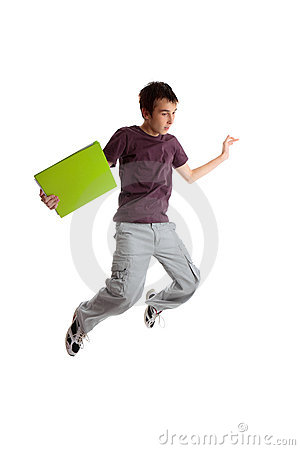 Excited student jumping