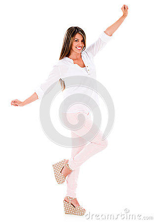 Excited summer woman