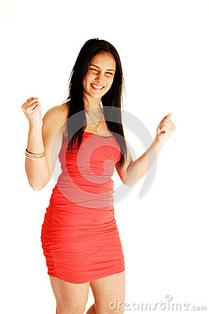 Excited teen girl in dress.