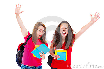 Excited teenage friends