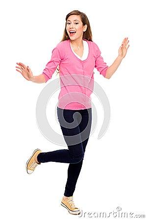 Excited teenage girl