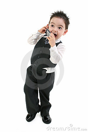 Excited Toddler Boy On Cellphone