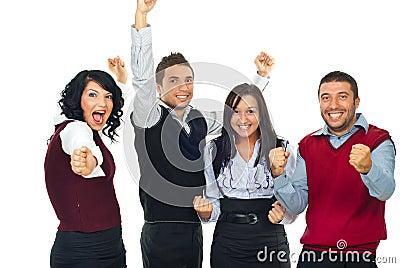 Excited winners people