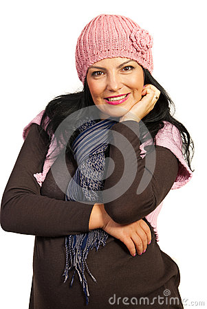Excited winter woman