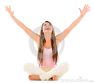 Excited woman with arms open
