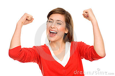Excited woman with arms raised